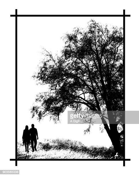 romantic couples walk together - boyfriend stock illustrations, clip art, cartoons, & icons