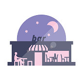 Romantic Date At Bar Flat Style Colorful Illustration