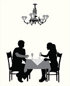 Romantic Dining Vector Silhouette