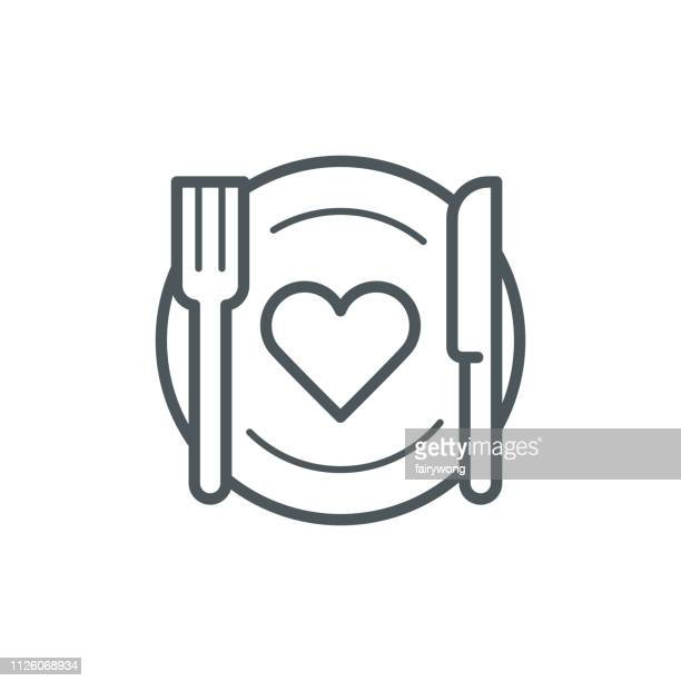 romantic dinner icon - healthy eating stock illustrations
