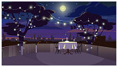 Romantic dinner on roof with served table vector illustration
