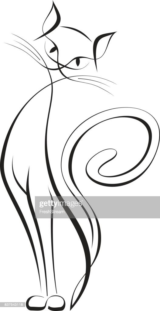 Romantic elegant creative line art-style cat