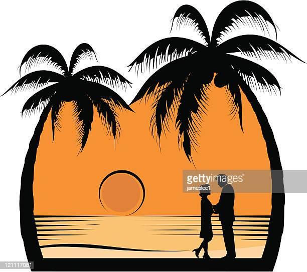 ロマンティックなサンセット - 異性のカップル点のイラスト素材/クリップアート素材/マンガ素材/アイコン素材