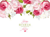 Romantic flowers horizontal banner