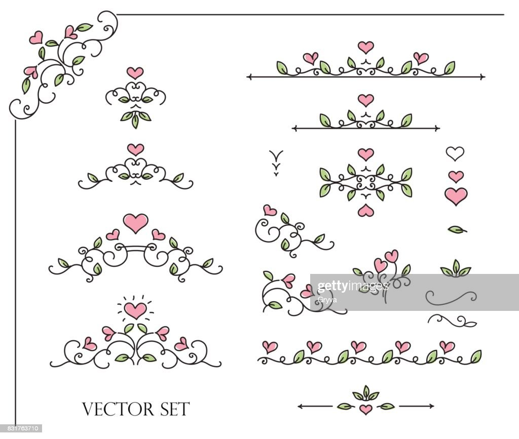 Romantic frames and scroll elements. Floral linear border design elements.