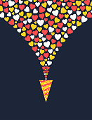 Romantic greeting card design with hearts poping up from cone shape