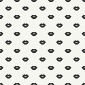 Romantic hipster lips kiss seamless pattern. Valentines day.