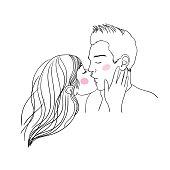 Romantic kiss loving couple.