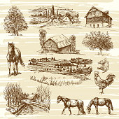 Romantic landscapes with rural houses and various animals