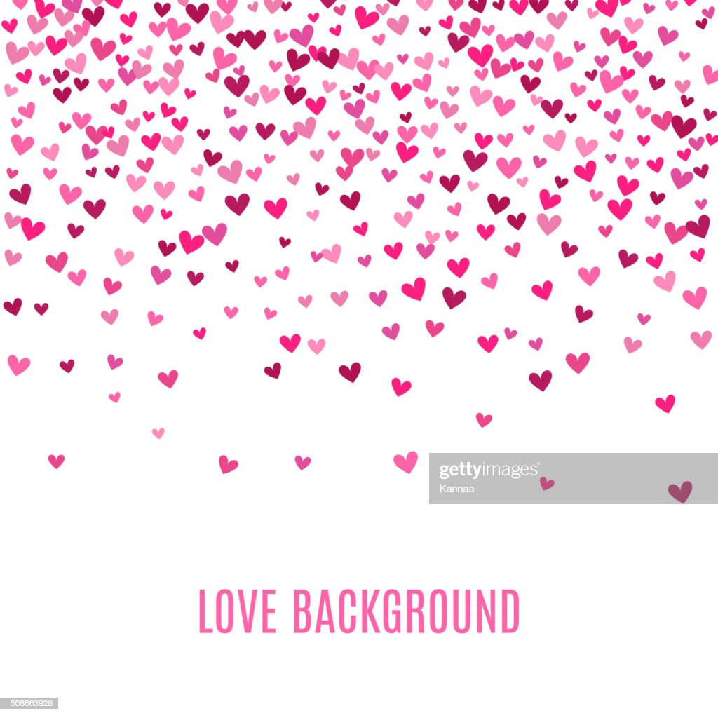 Romantic pink heart background. Vector illustration