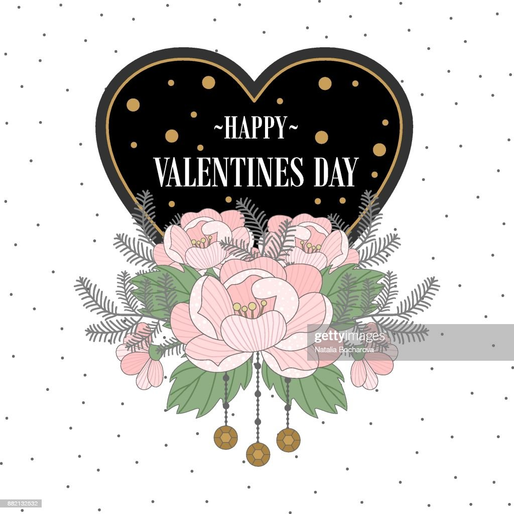 Romantic Postcard With Valentines Day Elements And Text Vector