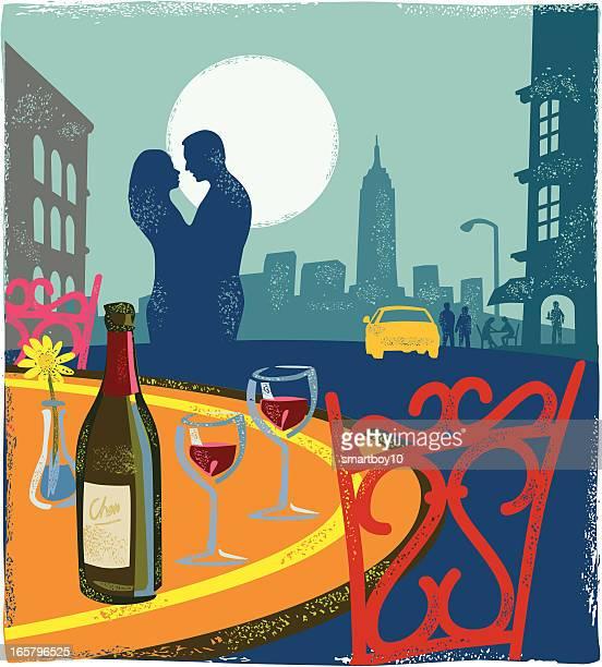 romantic scene - new york - homosexual couple stock illustrations
