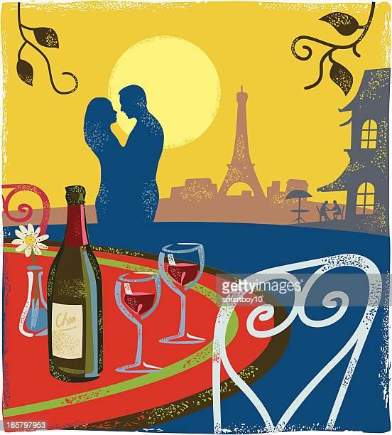 romantic scene - paris - french culture stock illustrations
