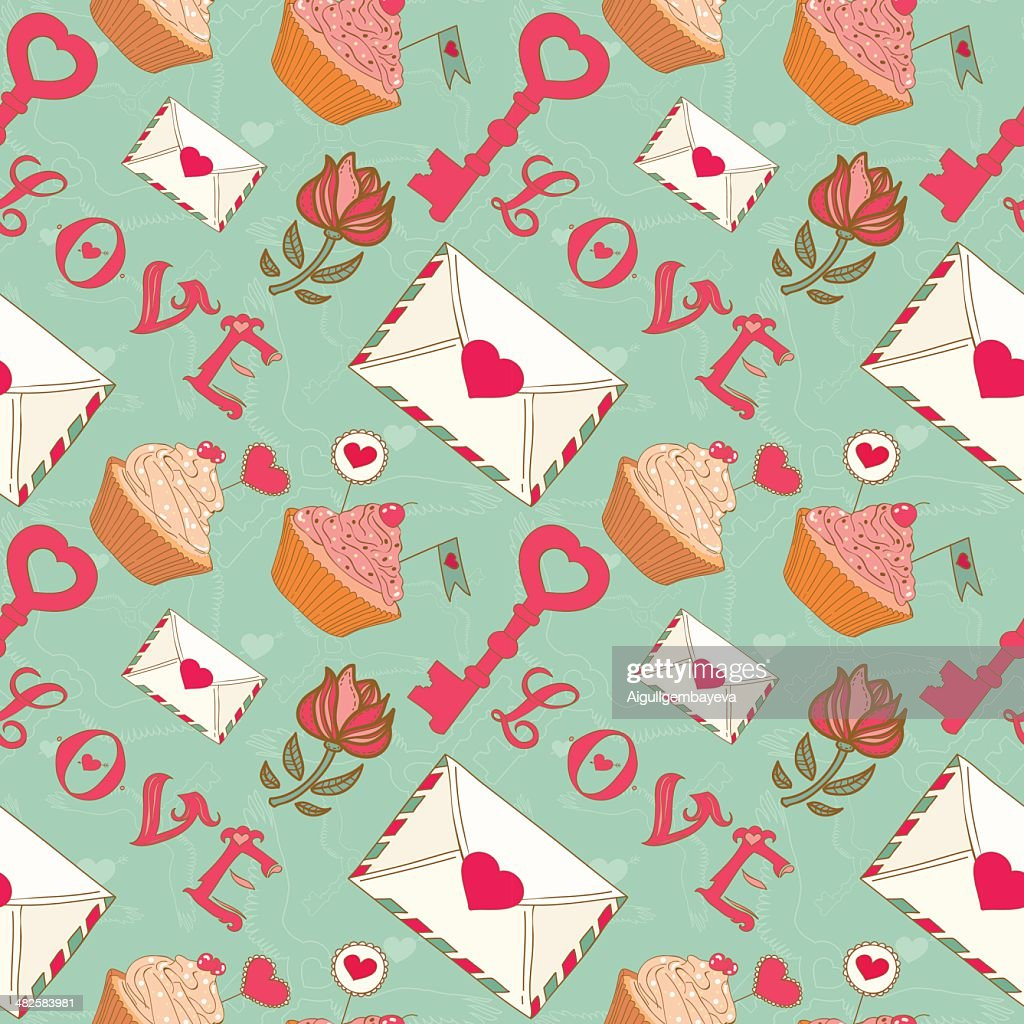 Romantic seamless Valentine's Day pattern.