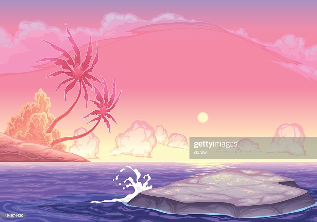 Romantic seascape in the sunset