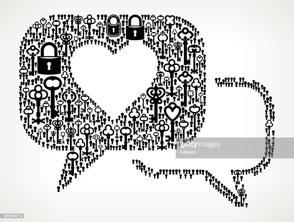 Romantic Speech Bubbles Antique Keys Black and White Vector Pattern : stock illustration