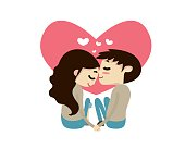 Romantic Valentine Couple Illustration