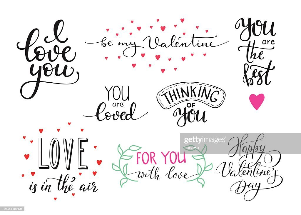 Romantic Valentines day lettering set
