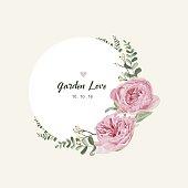 Romantic vintage floral bouquet . Flourish card and circle label