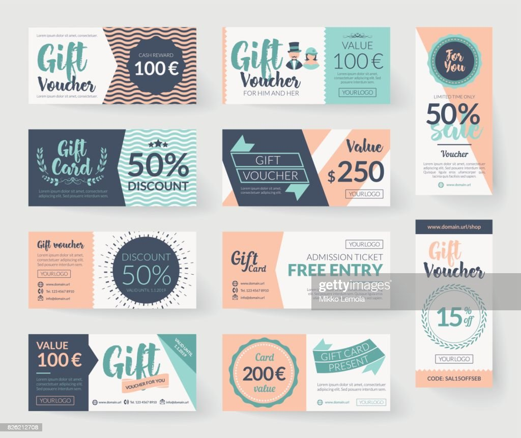 Romantic vintage style vector gift voucher templates