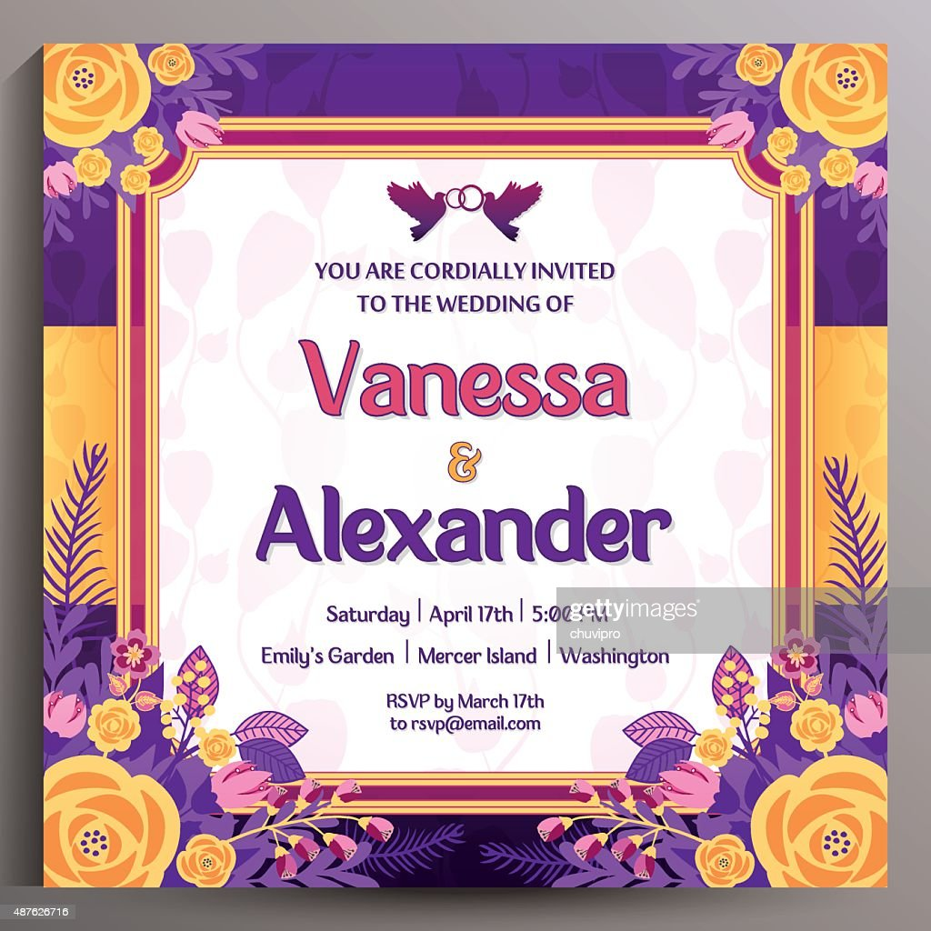 Romantic Wedding Invitation. Floral square card 14.5 cm