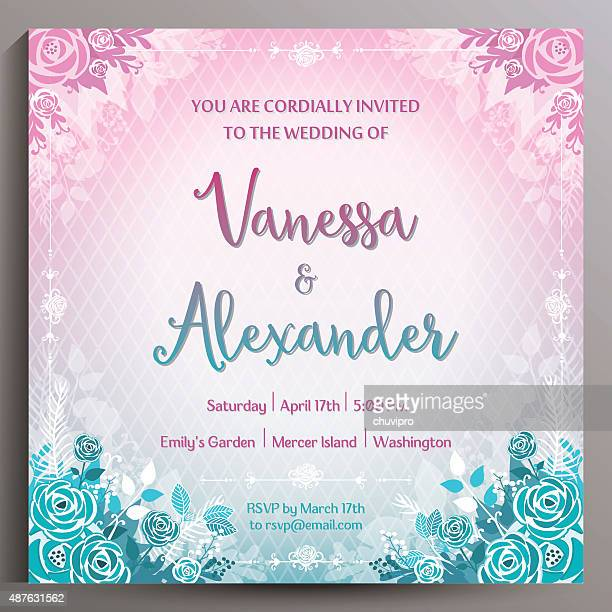 ロマンティックなウェディングにご招待します。のスクエアカード 14 .5 cm - purple roses bouquet点のイラスト素材/クリップアート素材/マンガ素材/アイコン素材