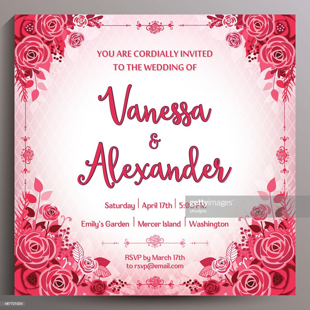 Romantic Wedding Invitation Floral Double Sided Square Card 145 Cm ...