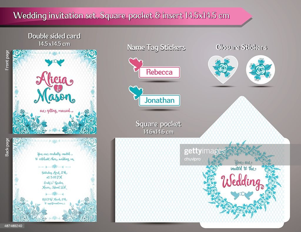 Romantic Wedding Invitation set. Square pocket and insert card