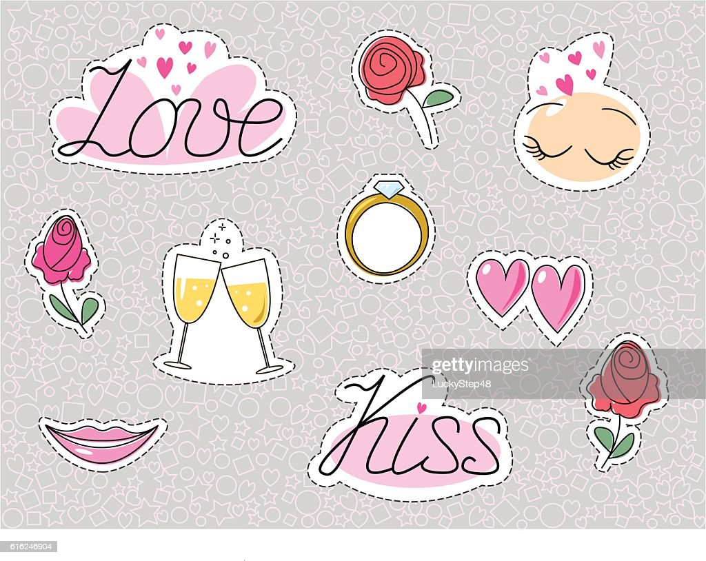 Romantic wedding stickers or patches. Love dating kiss heart and : Arte vectorial