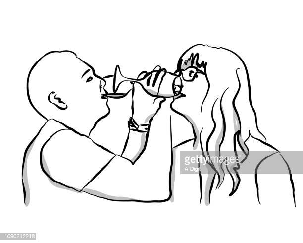 romantic wine sipping - arm in arm stock illustrations, clip art, cartoons, & icons