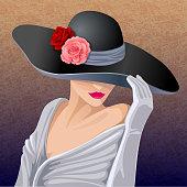 Romantic woman in black hat.