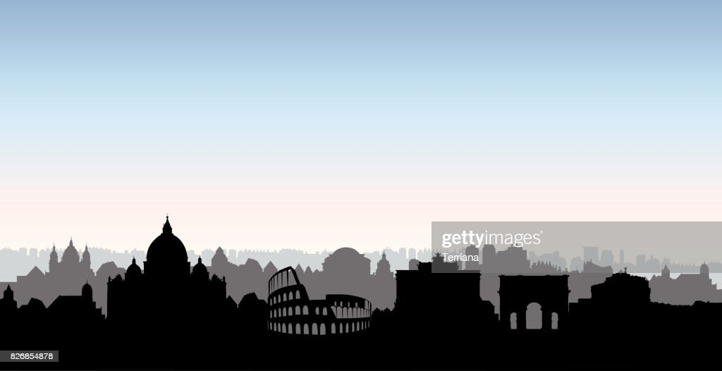 Rome city buildings silhouette. Italian urban landscape. Rome cityscape with landmarks. Travel Italy skyline background. Vacation in Europe wallpaper.