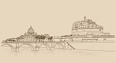 Rome cityscape with St. Peter's Basilica and Castle Sant Angelo. Italian city famous landmarks