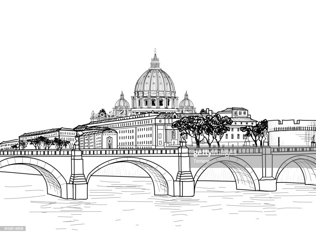 Rome cityscape with St. Peter's Basilica. Italian city famous landmark