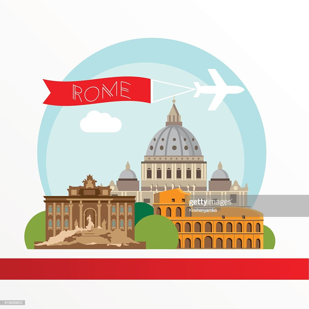 Rome detailed colorful silhouette.