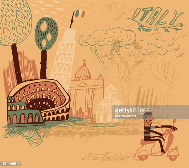 rome in italy in europe - moped stock illustrations, clip art, cartoons, & icons