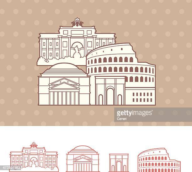 rome, italy cityscape representation - trevi fountain stock illustrations