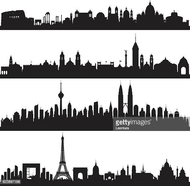 rome, mexico city, kuala lumpur and paris (complete, moveable buildings) - architectural feature stock illustrations, clip art, cartoons, & icons