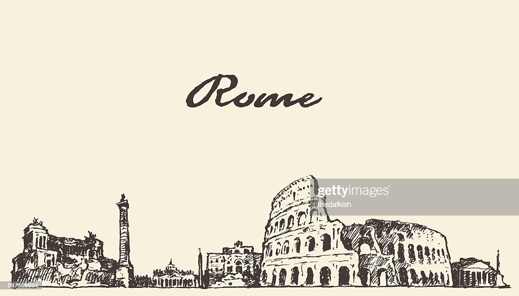 Rome skyline vintage illustration drawn sketch