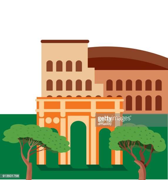 rome - coliseum rome stock illustrations, clip art, cartoons, & icons