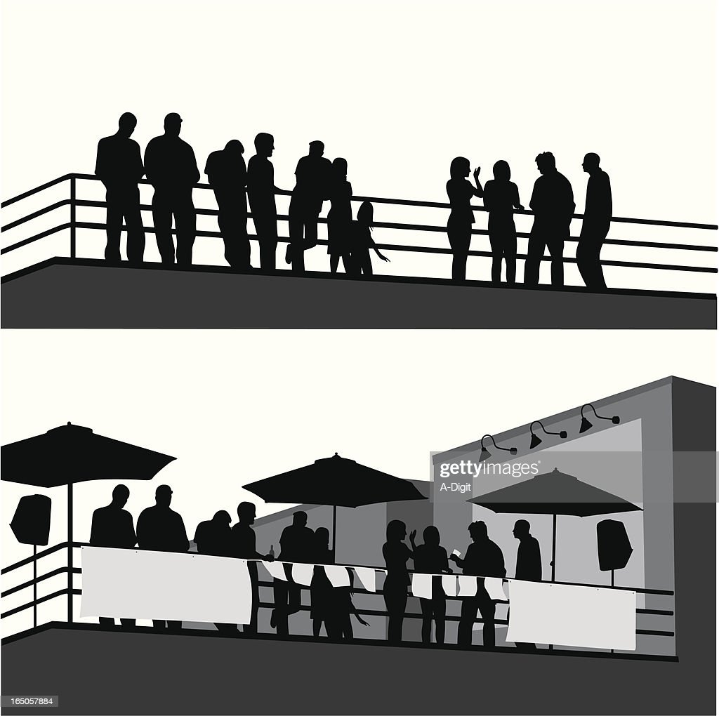 Roof Top Party Vector Silhouette