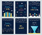 Rooftop Cocktail  Party Invitation Cards Set