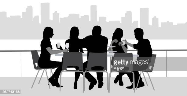 rooftop lunch with friends - lunch stock illustrations