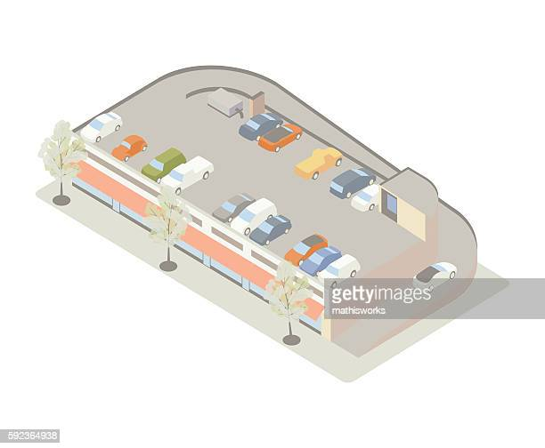 Rooftop parking isometric illustration