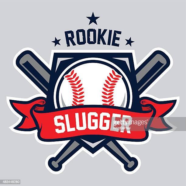 illustrazioni stock, clip art, cartoni animati e icone di tendenza di rookie slugger logo - palla da baseball