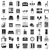 Room furniture silhouette icons set
