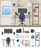 Room of workspace Flat elements modern design workplace in room.