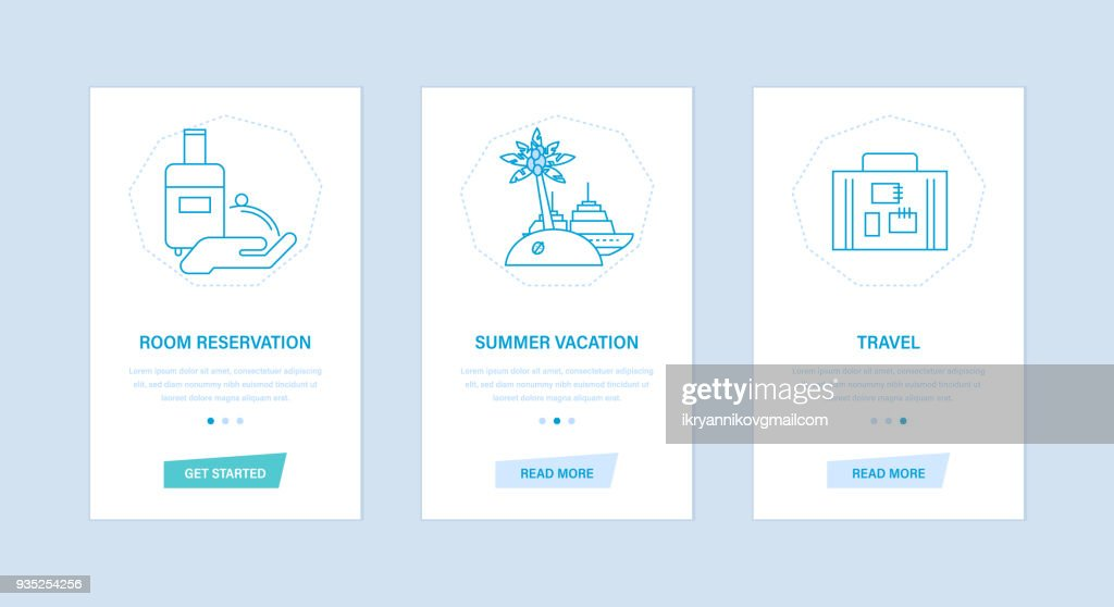 Room reservation, summer vacation, travel, trip. User interfaces, screens phones