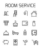 Room service related vector icon set.