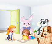 Room with kids and animals